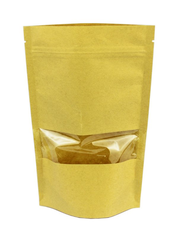 Kraft Stand Up Zipper Pouches With Window / Brown