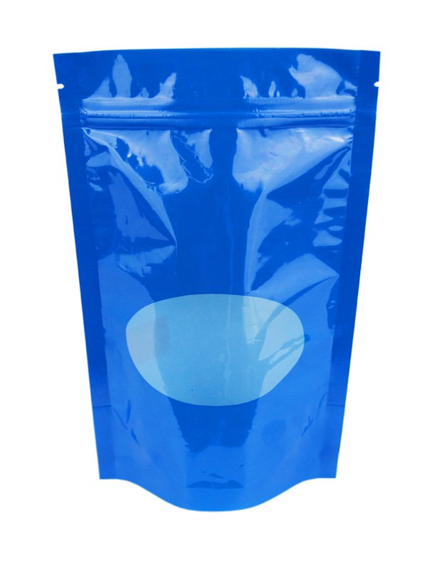 Plastic Stand Up Pouches With Window Blue