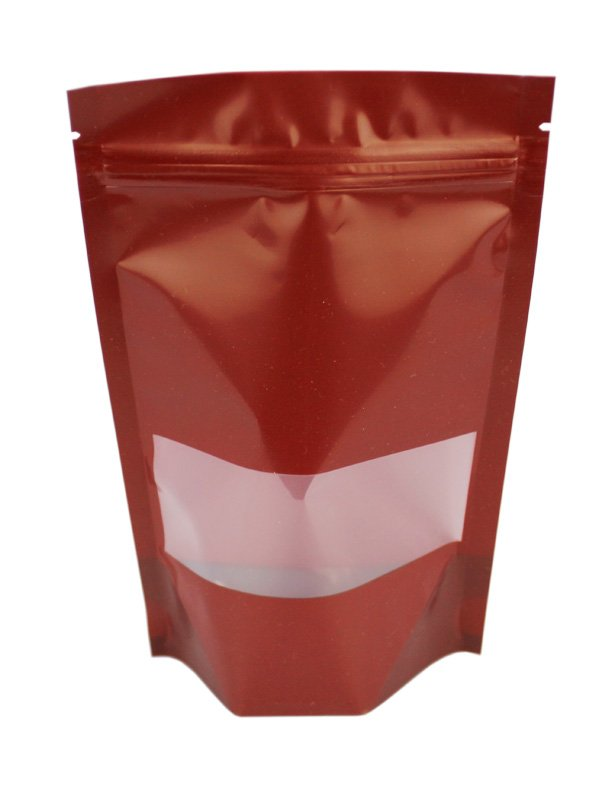 Plastic Stand Up Pouches With Window Wine Red