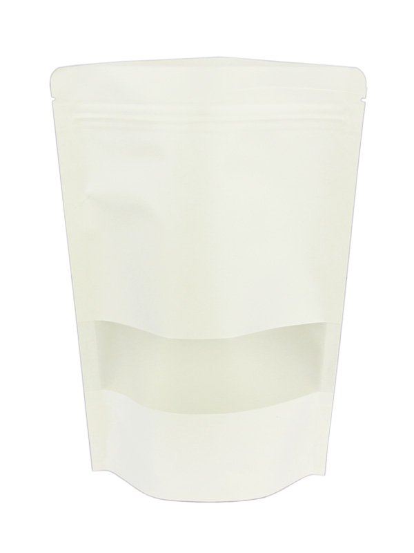 White Kraft Stand Up zipper Pouches With Window