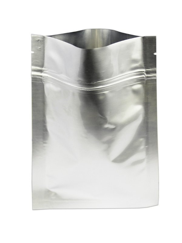 Aluminum Foil Flat zipper Pouches Silver