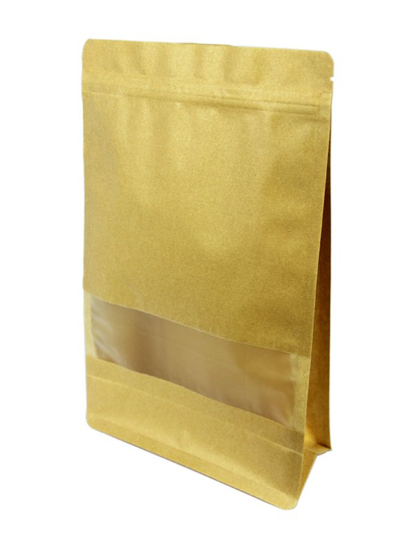 Kraft Flat Bottom Zipper Bag With Window