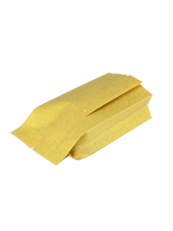 Leak Sealing Kraft Bag : Kraft side gusset bag back seal fshiny packaging