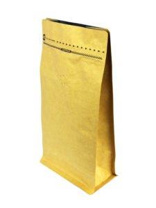 Brown Flat Bottom Zipper Bag With Valve - ALuminum Coated Kraft 2