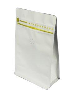 White Flat Bottom Zipper Bag With Valve - Aluminum Foil 4
