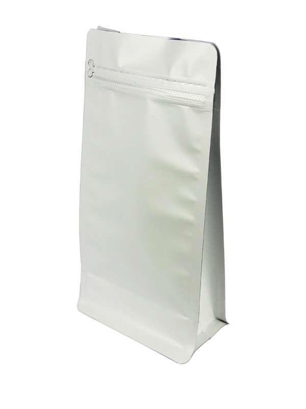 White Flat Bottom Zipper Bag Without Valve