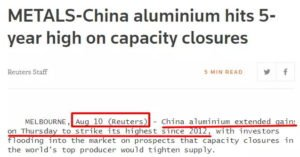 Aluminum Prices Rose