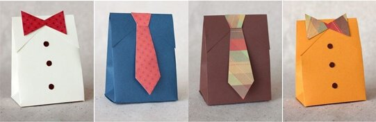 fathers day shirt & tie gift box bags